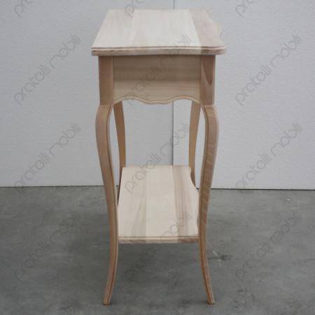 Consolle bombata grezza in legno massello