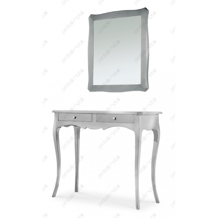 Consolle Sagomata Glenda con Specchio Foglia Argento ECO