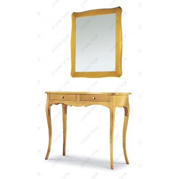 Consolle Sagomata Glenda con Specchio Foglia Oro ECO