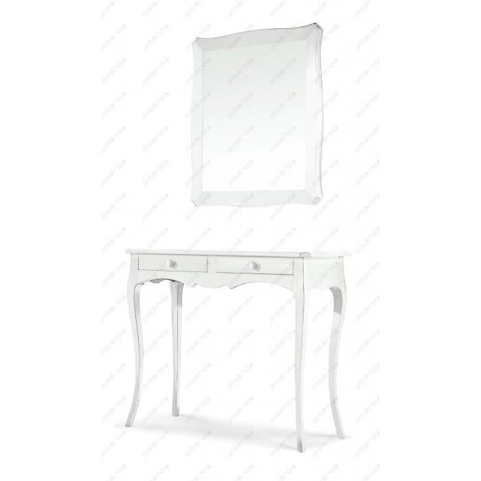Consolle Sagomata Glenda con Specchio Laccato Bianco Opaco