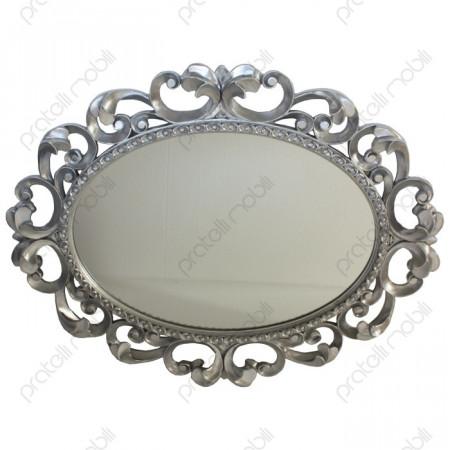 Specchiera Barocco Ovale Foglia Argento