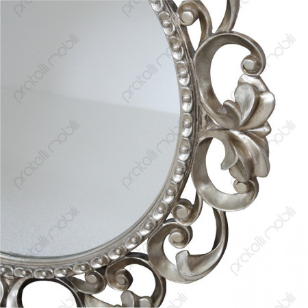 Specchiera Barocco Moderno Foglia Argento