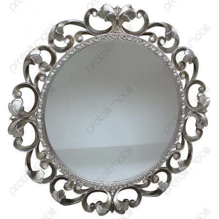 Specchiera Barocco Rotonda Foglia Argento Invecchiato
