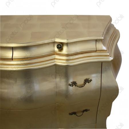 Comò Barocco Intagliato Foglia D'oro