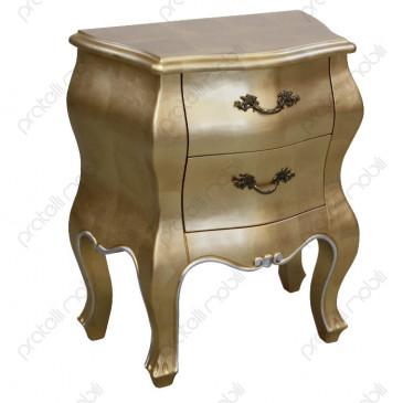 Comodino Barocco Foglia Oro Maniglie art. 1