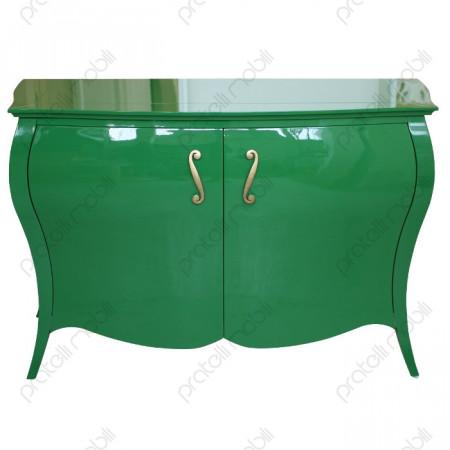 Credenza Bombata RAL 6001 Verde Smeraldo Lucido con Maniglie art. 5 Oro