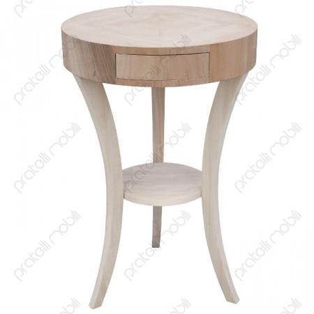Tavolino Portalampade Grezzo Rotondo Intarsiato
