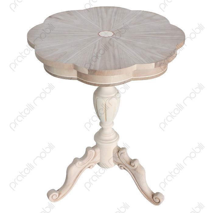Tavolino Grezzo Rotondo da Soggiorno Intarsiato Margherita