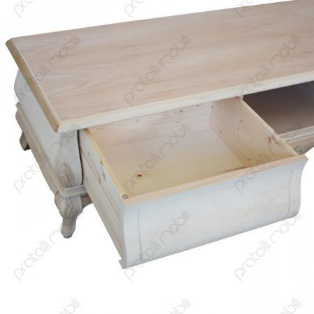 Porta tv barocco grezzo legno