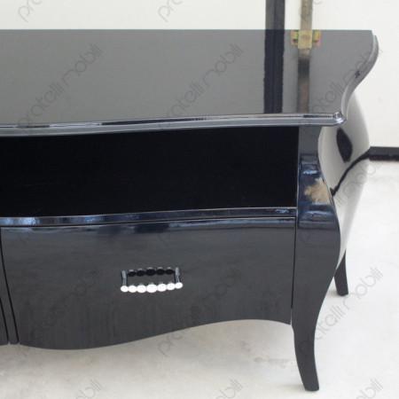 Mobile Porta TV Bombato con Due Cassetti e Vano Aperto