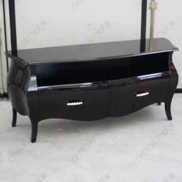 Mobile Porta TV Bombato Nero Lucido con Maniglie art. 15