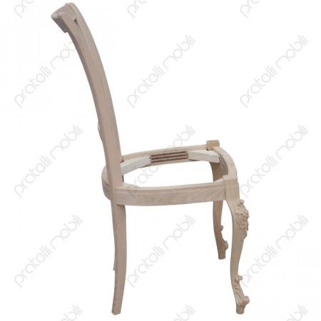 Sedia in legno massello grezzo da salotto