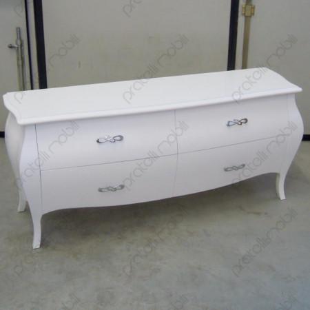 Porta Tv Bombato Bianco Opaco con Maniglie art. 4 Cromate