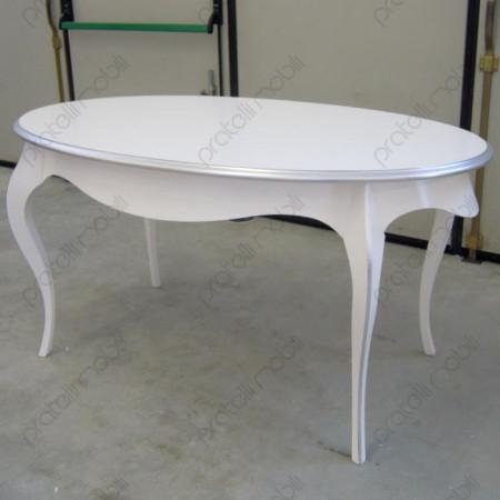 Tavolo Ovale Piccolo Bianco Media Lucidità con Bordo Argento