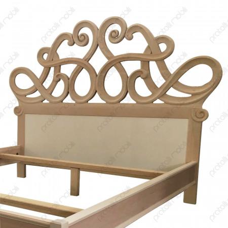 Letto barocco in legno grezzo da verniciare