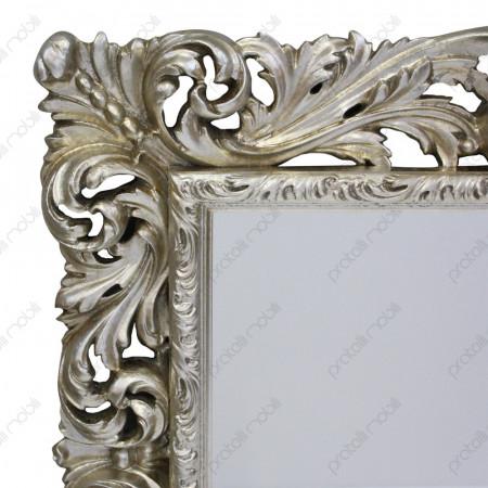 Specchio Barocco rifinito in Foglia Argento Invecchiato