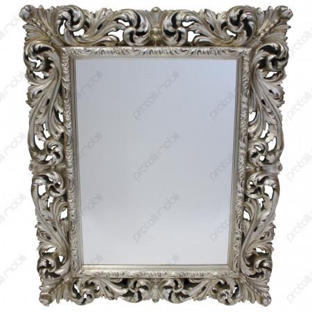 Specchiera Barocco Foglia Argento Invecchiata