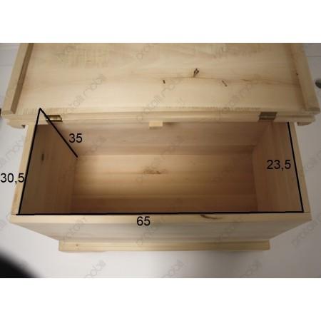 Cassapanca contenitore in legno grezzo