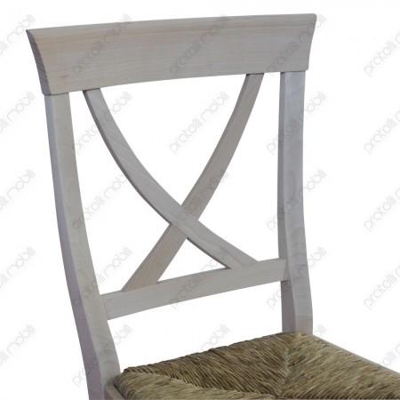 Sedia in Legno Grezzo Schienale Cross