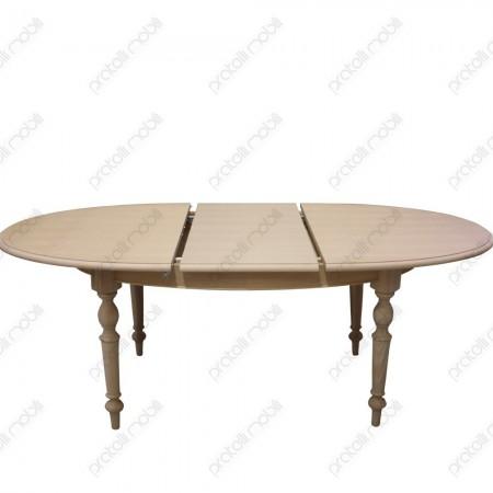 Tavolo ovale grezzo con prolunga centrale