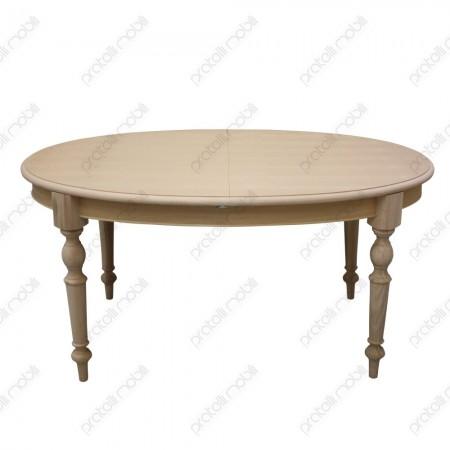 Tavolo ovale grezzo allungabile con gambe tornite