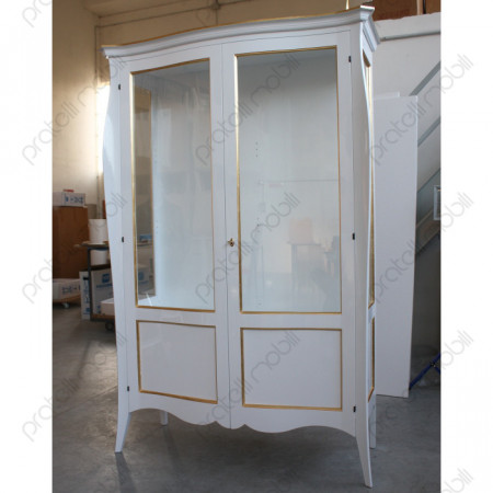 Vetrina Bombata Bianco Lucido con Decorazioni Foglia Oro