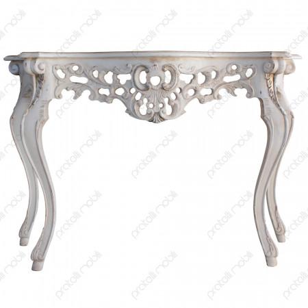Consolle intagliata bianco shabby con foglia argento