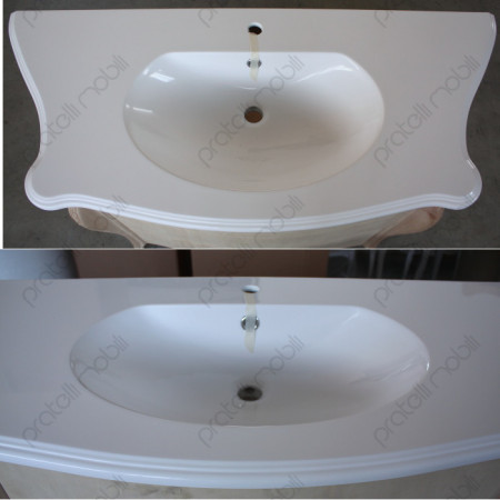 Top in mineralmarmo bianco con vasca integrata
