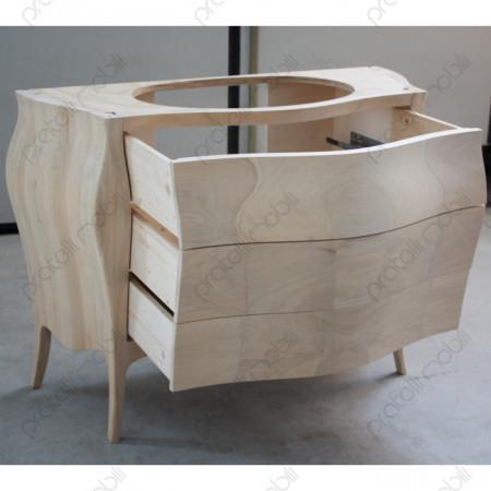 Mobile Bagno Grezzo con Cassetti Aperti