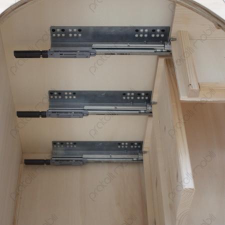 Mobile Bombato Grezzo con Cassetti Ammortizzati su Guide in Metallo
