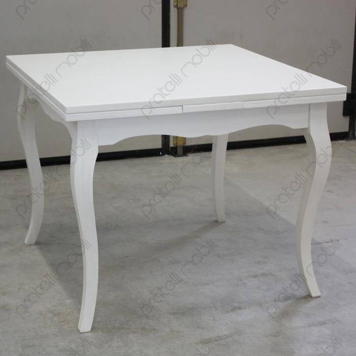 Tavolo Allungabile 100x100 Bianco Invecchiato
