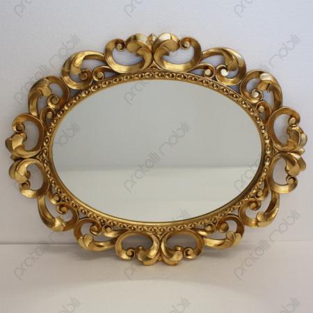 Specchiera Barocco Ovale Foglia Oro Invecchiato